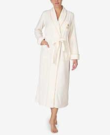 Long Fleece Robe With Rope Trim