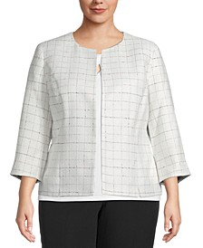 Plus Tweed Collarless Blazer