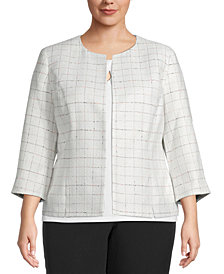 Kasper Plus Tweed Collarless Blazer