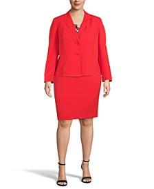 Plus Size Double-Button Blazer, Drape-Neck Top & Slim Skirt
