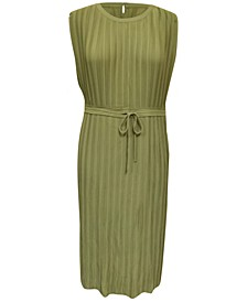 Pleated Tie-Waist Midi Dress, Created for Macy's