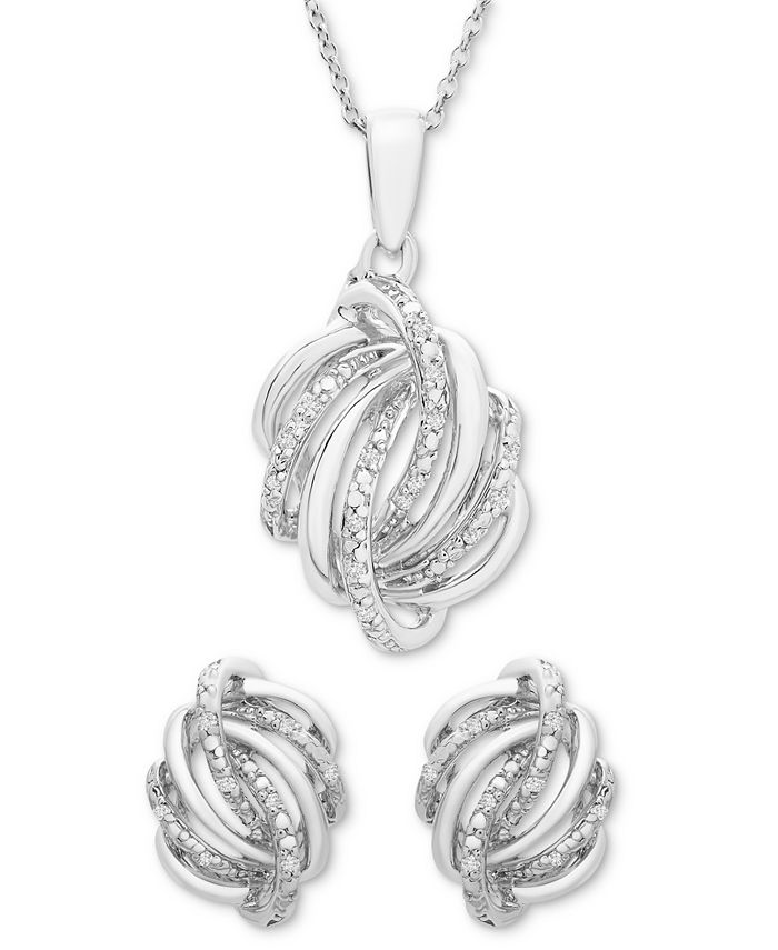 Macy's - 2-Pc. Set (1/6 ct. t.w.) Diamond Knot Pendant Necklace & Matching Stud Earrings in Sterling Silver