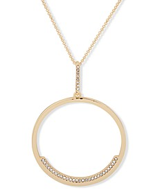 "Gold-Tone Pavé Circle 38"" Long Pendant Necklace"