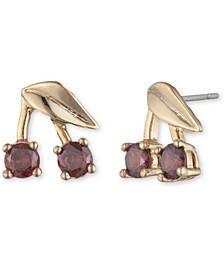 Gold-Tone Crystal Cherry Stud Earrings