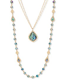 "Gold-Tone Crystal & Stone Beaded 24"" Convertible Layered Necklace"