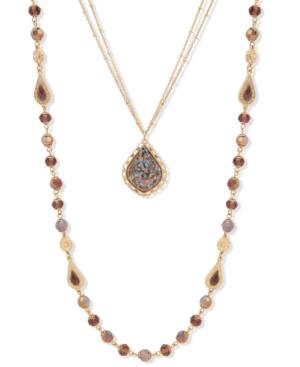 """Gold-Tone Crystal & Stone Beaded 24"""" Convertible Layered Necklace"""
