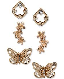 Gold-Tone 3-Pc. Set Crystal Butterfly & Flower Stud Earrings