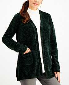Karen Scott Solid Chenille Pocket-Front Sweater, Created for Macy's