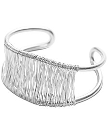 Silver-Tone Wire-Wrapped Double-Row Cuff Bracelet
