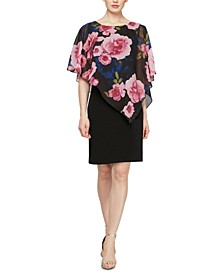 Floral-Overlay Sheath Dress
