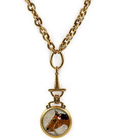 "Gold-Tone Horse Embellished Button Drop Pendant Necklace, 28"" + 2"" extender"