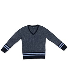 Petite Striped Cable-Knit Sweater, Created for Macy's