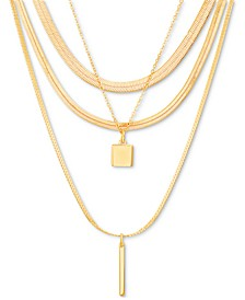 """Gold-Tone Layered Pendant Necklace, 14"""" + 3"""" extender"""
