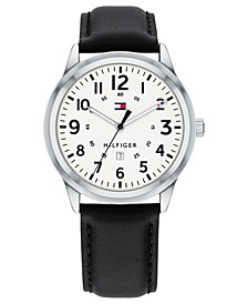 Men's Black Leather Strap Watch 42mm, Created for Macy's