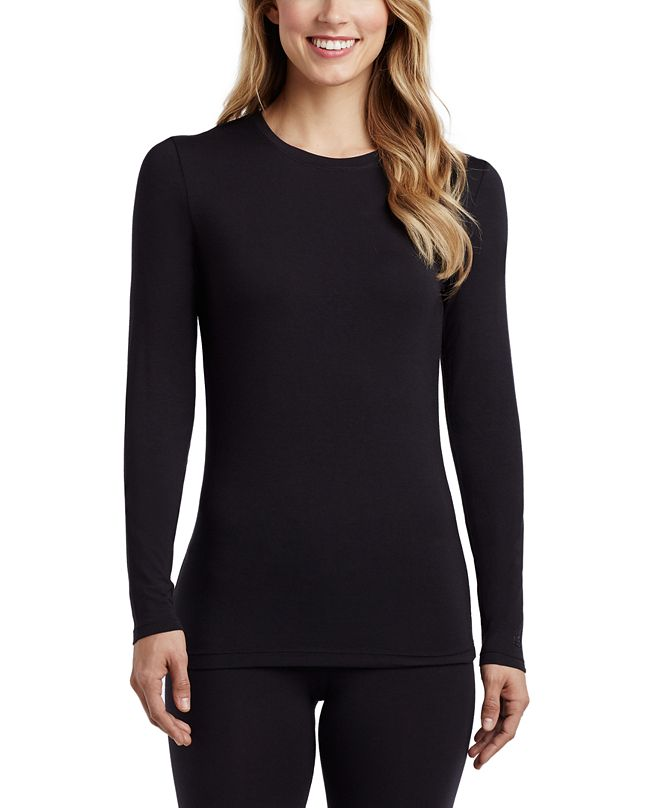 Cuddl Duds Petite Softwear With Stretch Long-Sleeve Crewneck Top