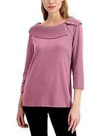 Karen Scott Cotton Envelope Collar Top, Created for Macy's