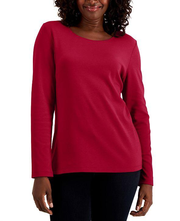 Karen Scott Cotton Long-Sleeve T-Shirt, Created for Macy's