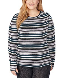 Plus Size Soft Knit Long-Sleeve Crewneck Top