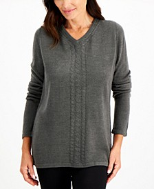 Plus Size Luxsoft V-Neck Cable-Trimmed Sweater, Created for Macy's