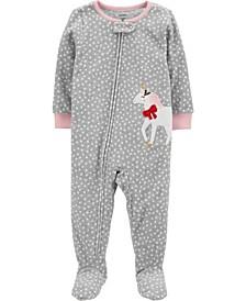 Toddler Girls 1-Piece Unicorn Fleece Footie Pajamas