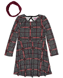 Little Girls Long Sleeve All Over Plaid Print Velour Dress with Headwrap