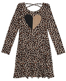 Big Girls Long Sleeve All Over Print With Graphic Dress