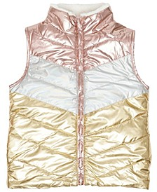Big Girls Color Block Shiny Reversible Vest