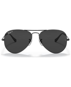 Ray-Ban Unisex Aviator Total Black Polarized Sunglasses, RB3025 58