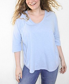 Women's Plus Size CloudSoft 3/4 Sleeve V-Neck Tee