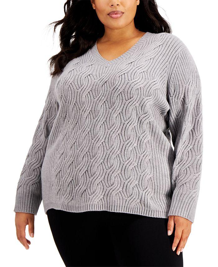 Calvin Klein - Plus Size Chain-Stitch Sweater
