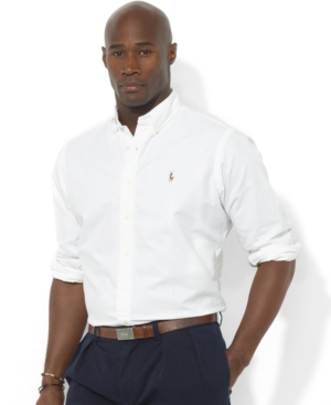 283c3909e POLO RALPH LAUREN MEN'S BIG AND TALL CLASSIC FIT LONG-SLEEVE OXFORD SHIRT,  WHITE