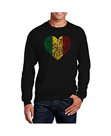 Men's Word Art One Love Heart Crewneck Sweatshirt