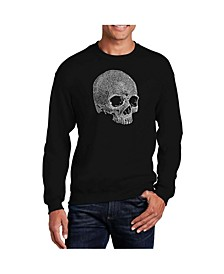 Men's Word Art Dead Inside Skull Crewneck Sweatshirt