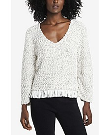 Women's Ruched Sleeve Boucle Fringe Pullover