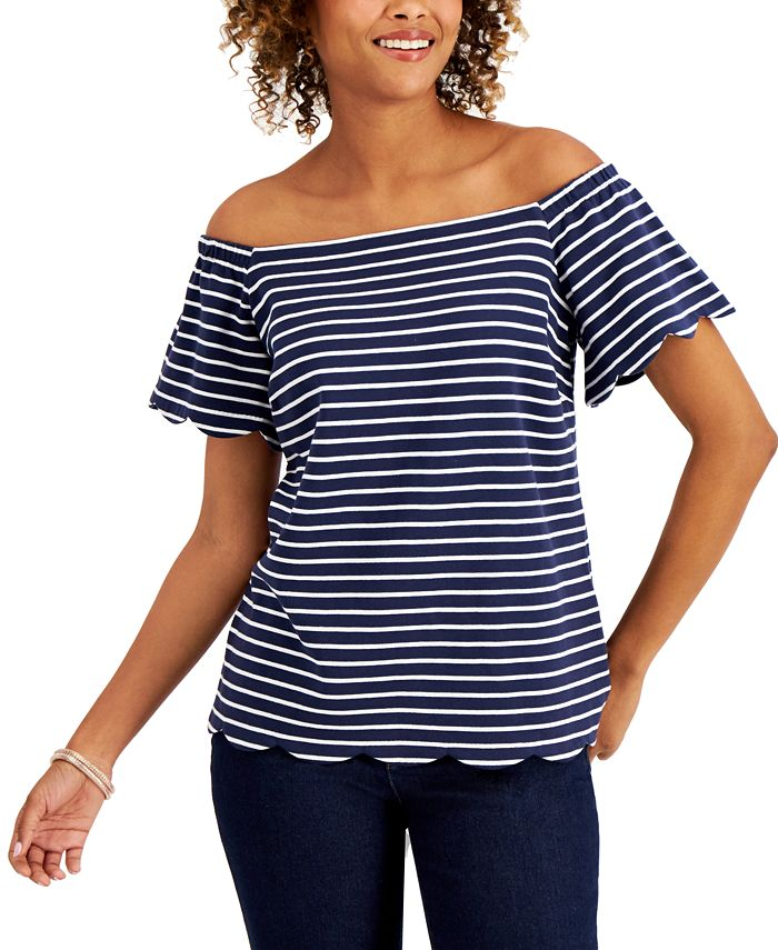Charter Club - Striped Off-The-Shoulder Top