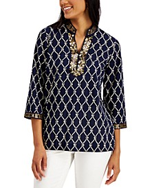 Printed Metallic-Trim Top, Created for Macy's