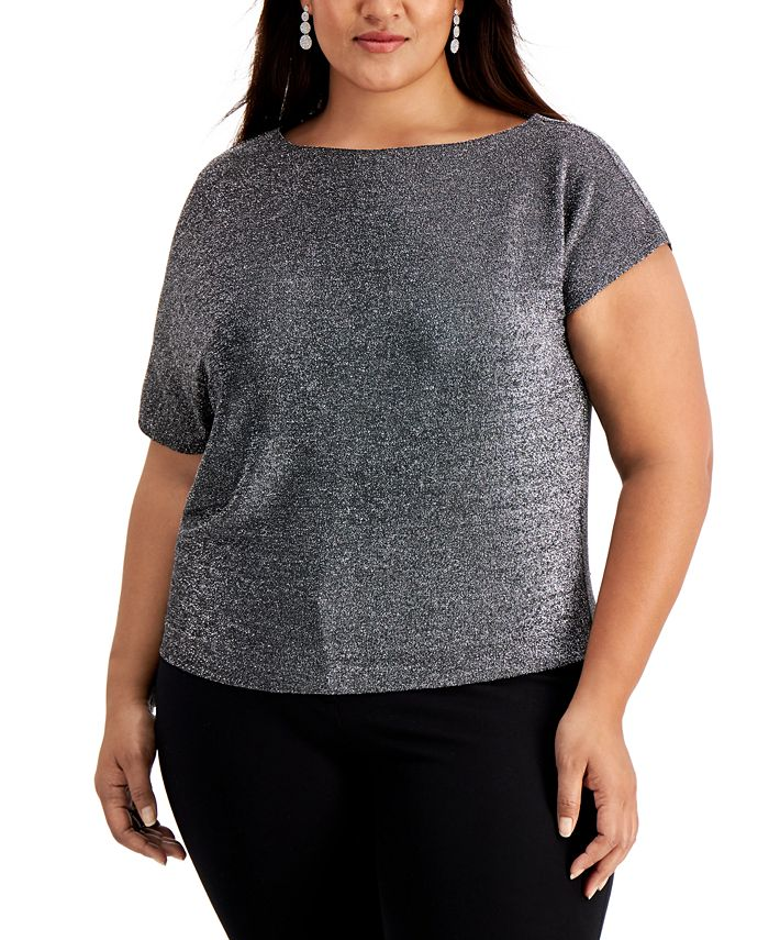 Alfani - Plus Size Metallic Asymmetrical-Sleeve Top