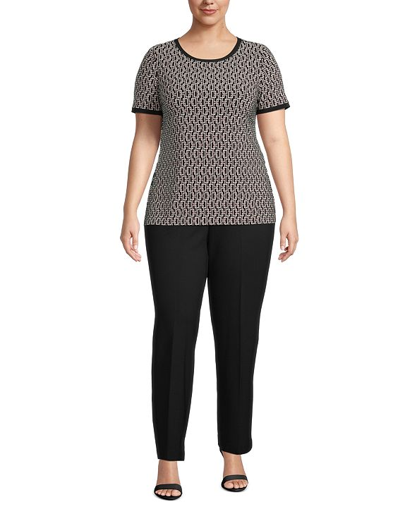 Anne Klein Plus Size Printed Button-Back Top