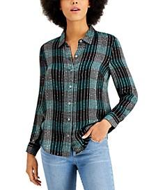 Petite Sparkle Plaid Shirt, Created for Macy's