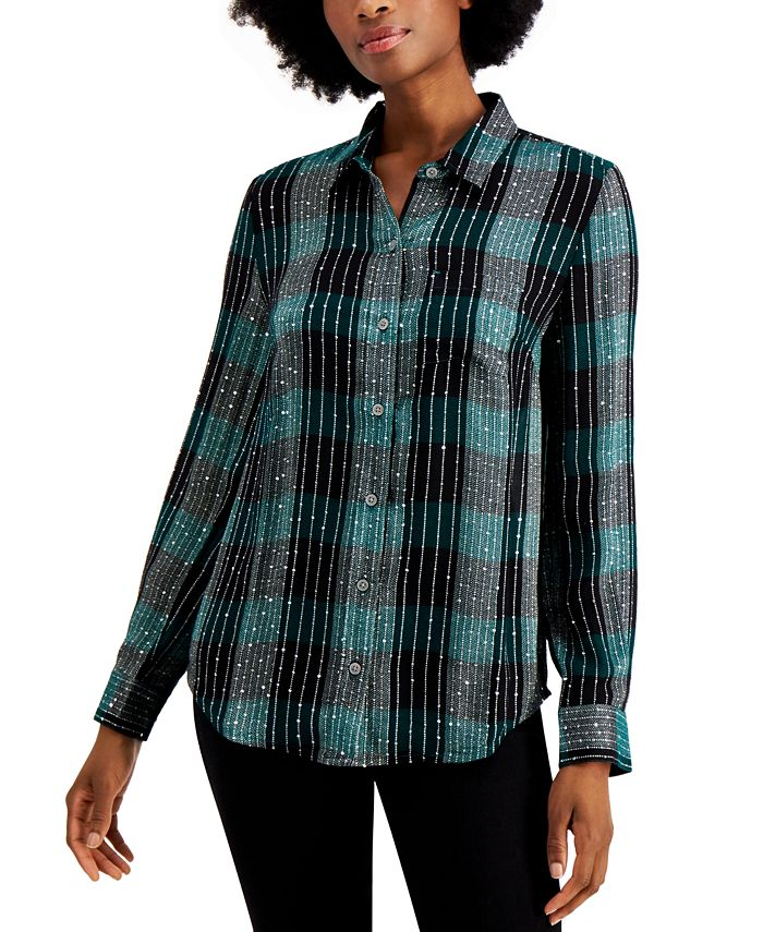 Style & Co - Sparkle Plaid-Print Shirt