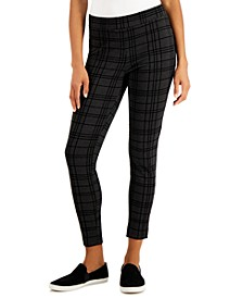 Heathered Plaid Ponté Knit Pants, Created for Macy's
