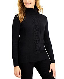 Cable-Front Turtleneck Sweater, Created for Macy's