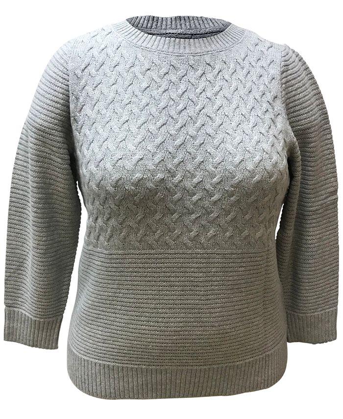 Karen Scott - Plus Size Mixed-Stitch Sweater