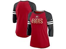 Nike San Francisco 49ers Women's Three-Quarter Sleeve Raglan Shirt