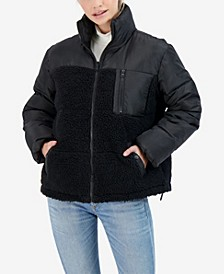 Junior's Mix Media Reversible Puffer Coat