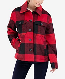 Junior's Buffalo Plaid Shirt Coat