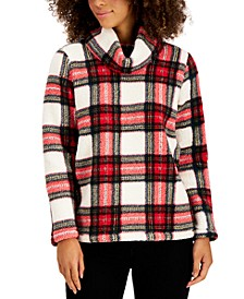 Plaid Cowlneck Sherpa Pullover, Created for Macy's
