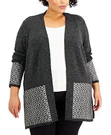 Karen Scott Plus Size Contrast Open-Front Cardigan, Created for Macy's