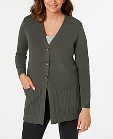 Plus Size Button-Front Mixed-Stitch Cardigan, Created for Macy's