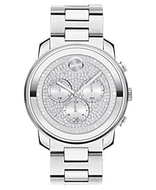 Unisex Swiss Chronograph Bold Stainless Steel Bracelet Watch 44mm